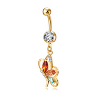 Wholesale br jewelry - Belly Button Ring New Fashion 18K Yellow Gold Plated Butterfly Navel Piercing Body Jewelry Sexy Belly Piercing Ring for Women BR-242