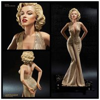 Wholesale Doll Sexy Super - Sexy Modern Times Goddess Monroe Marilyn blondes 1 4 Statue PVC Action Figure Collection Toys Dolls 40cm