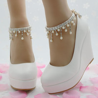 Wholesale Crystal Wedge Wedding Shoes - New elegant high heels wedges shoes pumps women wedding shoes party dress platform white wedges Pearl crystal shoes