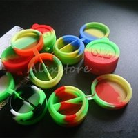 Wholesale Wholesale Conjoined - Double chamber Wax Containers silicone divider Silicon container dabber 42*22mm 10ml food grade wax jars dab Conjoined rubber Storage DHL