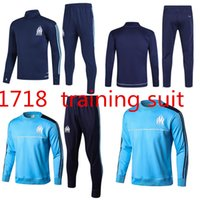 Wholesale Feet Tights - Top quality 2017 2018 Ligue 1 Maillot de foot Marseille soccer training suits blue black tracksuits Uniforms shirts long sleeve tights pants