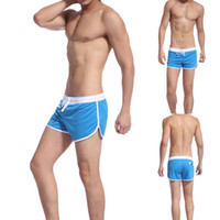 Wholesale Mens Sexy Sports Pants - Wholesale new style Boxer Briefs Men's Swimwear Trunks Sports Wear Sexy Short Beach Summer Pants Mens Swimsuit free shipping