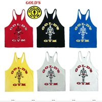 Wholesale White Tank Top Large - Wholesale- 2016 gymvest bodybuilding clothing and fitness men tank tops goldsgym brand high quality 100% cotton undershirt large size