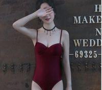 Wholesale Korean Sexy Woman Bikini - 2017 new Korean version of the triangle body bikini wine red small chest gather steel care harness sexy hot spring swimsuit women