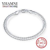 Wholesale Mens 925 Bracelets - YHAMNI Original Real 925 Sterling Silve Bracelet Silver Tone bracelet Customized Mens Wholesale Jewelry Have S925 Stamp H199