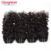Wholesale Natural Hair Bangs Extensions - Brazilian Water Wave Virgin Hair Extensions 8A Grade Brazilian Wavy Hair Extensions For Black Women Natural Wave Bangs Human Hair Weave 6 ps