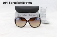 Wholesale Select Cases - Free Shipping High Quality Women's Ladies Designer Sunglasses Tortoise Big Frame UV400 Sun Glasses With Box Case 6 Colors Select