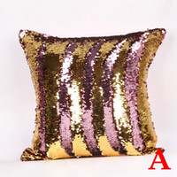 Wholesale 10Patterns Mermaid Sequin Pillowcase Magic Scratch Reversible Glitter Sofa Throw Cushion Pillowslip Bling Home Decoration Double Color