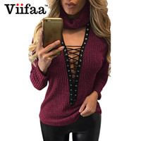 Wholesale Turtleneck Women Lace - Wholesale- Viifaa Sexy Deep V Lace Up Sweater Women Knitted Pullover Tops Spring Turtleneck Strappy Christmas Sweaters