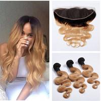 27 cheveux bruns bruns achat en gros de-# 1B 27 Miel Blonde Ombre Brésilienne Vierge Vague de Corps de Cheveux Humains Weave Bundles Avec Dark Roots Lumière Brun Ombre 13x4 Dentelle Frontale Fermeture