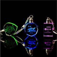 çift zincirler sevgililer günü toptan satış-Kişiselleştirilmiş Tasarım Lazer Oyma Desen Kristal Anahtarlık LED Renkli Değişen Çift Anahtarlık Düğün Noel sevgililer Günü Hediyesi