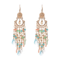 Wholesale Gem Exaggerated Earrings - Europe and the United States Bohemia Style Gems Wild Water Droplets Tassel Exaggerated New Earrings Novel Charm Popular A46