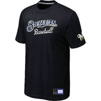 Wholesale T Shirts Cheap Xl - Cheap Milwaukee Brewers Baseball T Shirts Big&Tall Logo Fashion Baseball Tees Shirt Short Sleeve O-Neck Cotton T-shirt 14 Colors