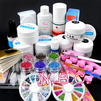 Wholesale Uv Paint Set - Wholesale- 1 set Acrylic power UV gel Nail Art Decorations Brush Set Tools Professional Painting Pen for False Nail Tips UV Nail Gel Polish