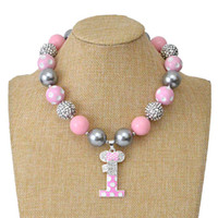 Wholesale halloween bubblegum necklace - Birthday Number Toddler Bubblegum Chunky beads Necklace for girl