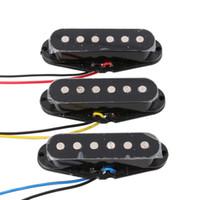 Wholesale Guitar Single - 3PCS N M B Single Coil Ceramic Magnet Pickup Flat Top for ST Guitar Black