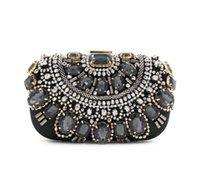 Wholesale Black Beaded Purse - Famous Brand Women Handbags Black Crystal Evening Purse Metal Clutches Silver Beaded Bridal Wedding Box Clutch Bags Bolsos Mujer