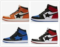 Wholesale Basketball Backboard Sizes - retro 1 Top 3 three basketball shoes shattered backboard UNC black metallic red toe Chicago men women sneakers from Michael Sports size US13