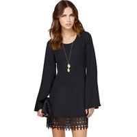 Wholesale Wholesale Work Dresses For Women - Wholesale- Fashion Chiffon Summer Women Dress Casual Full sleeve O-Neck Party Dresses for Woman Solid Ladies Mini Dress White Black