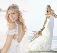 Wholesale Cheap Anna Campbell Dresses - 2017 Cheap Sexy Anna Campbell Spaghetti Straps Beach Boho Wedding Dresses Bohemian Lace Bodice Chiffon Backless Vintage Bridal Dresses