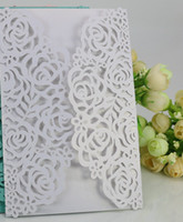 Wholesale Birthday Party Business - Free Shipping 50pcs White Rose Flower Business Party Birthday Laser Wedding invitation card, no envelope,no inner sheet