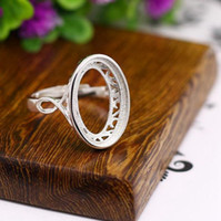 Wholesale Engagement Semi Settings - Charm Sterling Silver 925 Oval Cabochon 11x17mm Semi Mount Engagement Wedding Ring Gemstone Jewelry Setting Retro Fine Silver Fashion