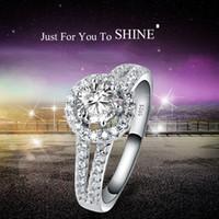 Wholesale Diamond Ladies Ring Sterling - 925 Sterling Silver Rings Ladies Fashion Wedding Ring Plated Diamond Rings for Women Engagement circular Ring