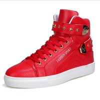 2017 High Tops Hommes Chaussures Hommes Chaussures Casual Blanc Rouge Noir Lace Up Student Bottes en cuir PU Crochet Boucle Chaussures Rouge Rouge