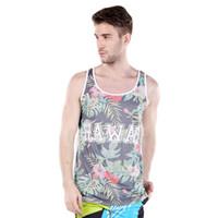 Wholesale Tropical Shirt Men S - Wholesale- Beach Tanks Tops Men Tropical Hawaiian Shirts Men Summer Sleeveless Palm Tree Shirts Polyester Quick Dry Mesh Tanks Men T-Shirts