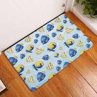 Wholesale Sea Shell Bathroom - decorative nautical style bathroom carpet tropical fish door floor mat shell sea horse starfish rug decor
