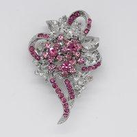 flores broche de perlas de boda rhinestone al por mayor-Venta al por mayor de moda Rhinestone Broche Pin dama de honor Wedding Party nupcial forma de flor Broches accesorios de la joyería C078