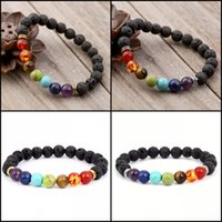 Wholesale Tennis Charms Silver Plated - 7 Chakra Lava Stone Diffuser Bracelet Meditation Grounding Healing Genuine Stones Natural Essential Charm Bracelets B124S
