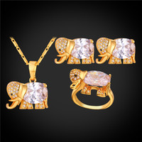 Wholesale Fashion Earrings Gold Ring - U7 Luxury CZ Elephant Necklace Earrings Ring Sets for Women 18K Gold Platinum Plated Fashion Jewelry Sets Perfect Lucky Accessories Gift