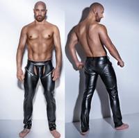 Wholesale long faux leather pants - Plus Size Mens Sexy Lingerie Fuax Leather Pants Latex Leggings Men Open Crotch Long Trousers