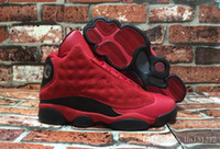 Wholesale Super Cheap Mens Shoes - Wholesale Retro 13 XIII What Is Love 13s Sneakers Black Red Suede Mens Basketball Shoes Men Cheap Sneakers For Sale 888164-601 Super Quality