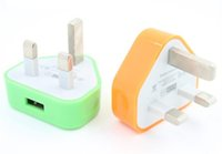Wholesale Iphone 3g Adapter - 100PCS Colorfull UK 3 pins USB plug charger AC Home Wall charger Power Adapter for 3G 4G I9220 N7100 S5 I9600 H-SC