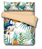 Wholesale Peacock Duvet - 2017 3D Toucan Pineapple Peacock Duvet Cover Set 3pc Quilt Cover Pillowcase 5 Size 2 colors