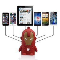 Wholesale Wholesale Iron Man Power Bank - 10pcs lot 4000mAh Universal Cartoon Design Iron Man Portable Charger Power Bank Backup Battery For iPhone Samsung HTC LG Xiaomi