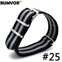 Wholesale Watches For Army - Wholesale-1PCS 18 20 22 mm Black Grey Striped Nato Strap for Army Sport Watch Nylon Watchband Strap On For Hours For James Bond Watch