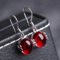 Wholesale Vintage Ruby Stud Earrings - Fashion Gemstone Platinum Plated earrings Elegant Synthetic Ruby earrings for Women Vintage Crystal Jewelry For Girls 2 Colors