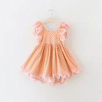 Wholesale Dress Polka Dot Pink Girls - New Summer Girls Clothing Dresses Polka Dots Printed Lace Edge Puff Sleeve Kids Clothes Dress Princess Tulle Party Dressy Pink A6072