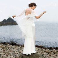 Wholesale Bridal Gown Lace Shawl - 2017 Sexy Two Pieces Beach Wedding Dresses Flowing Chiffon Sweetheart Neck Beaded Lace Shawl Design Floor Length Latest Bridal Gowns Custom