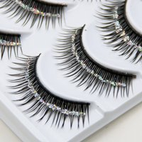 Wholesale Strip Sequins - Hot!!! Natural False Eyelashes Bare Silver Sequins Glitter Makeup False Eyelashes Stage Makeup Bridal Makeup Thick False Eyelashes