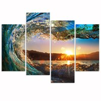 4Panel Florida Seascape Canvas Wall Art Ocean Wave Wall Art per Home Office Interior Wall Decor Tramonto sul mare Paesaggio Immagine Stampa su tela