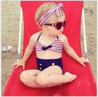 drei kinder mädchen bikinis großhandel-Mode 2017 Neue Baby Mädchen Bikini Badeanzug Nettes Mädchen Drei Stücke Badebekleidung Kinder Gestreiften Tasten Badeanzug 4 sätze / los
