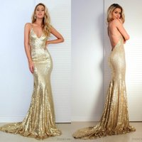 Wholesale Cheap Sequin Dresses China - Sexy 2017 Gold Sequined Mermaid Bridesmaid Dresses Long Cheap Spaghetti Criss Criss Backless Maid Of Honor Gowns Custom Made China EF62110