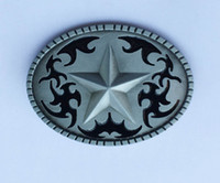 Wholesale Western Floral Belt Buckle - Western Texas Star Belt Buckle By Crazy Fun Metal SW-BY557 suitable for 4cm wideth snap on belt with continous stock