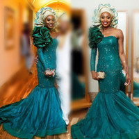 Wholesale teal ruffle prom dress - Saudi Arabia Teal Evening Gowns Sexy One Shoulder Long Sleeve Prom Dresses With Big Flower On Shoulder Lace Appliques African Party Dress