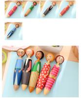şeker kalemleri hediye toptan satış-5 adet / grup Yaratıcı Şeker Karikatür Bebekler Tükenmez Kalem Renkli Plastik Top Kalemler Ofis Okul Hediyeler 1707102
