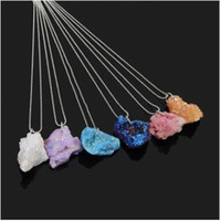 Wholesale Rough Natural Stone Multicolor Classic Style Pendant Necklace Irregular Druzy Geode Lava Crystal Quartz Women s Necklace Jewelry accessories
